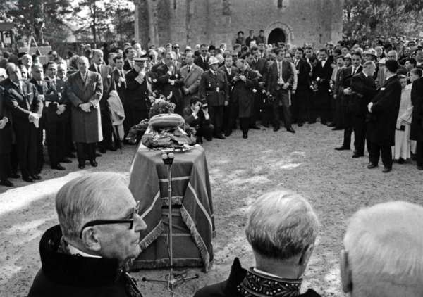 Funerals of Jean Cocteau in Milly La Foret October 16, 1963 (b/w photo)