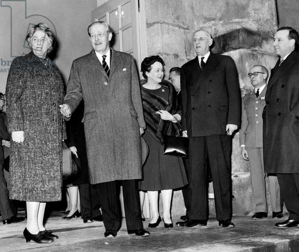 Harold Macmillan English Prime Minister and Wife With French President Charles De Gaulle and Wife March 9, 1959 (b/w photo)