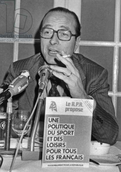Jacques Chirac, President of Rpr (Main Political Party of The Gaullist Right) Presenting A Brochure About Sports February 9, 1978 (b/w photo)