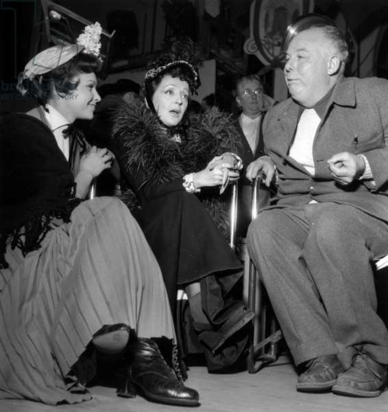 Francoise Arnoul, Edith Piaf and Jean Renoir on Set of Film