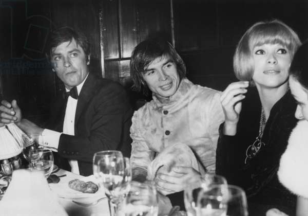 """Alain Delon, Rudolf Noureev and Mireille Darc at Maxim'S Restauarnt in Paris, After Gala of """"Phedre"""" at The Olympia, Paris, October 15, 1968 (b/w photo)"""