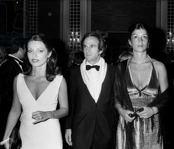 Director Francois Truffaut With Actress Marie France Pisier (L) and his Wife Madeline Morgenstern (R) at Opening of 3Rd American Movie Festival in Deauville September 5, 1977 (b/w photo)