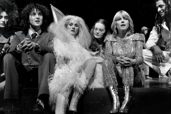 Nanette Workman, Rene Joly, Diane Dufresne, Fabienne Thibaut, France Gall and Roddy Julienne in Musical Show Starmania in 1979, Paris (b/w photo)