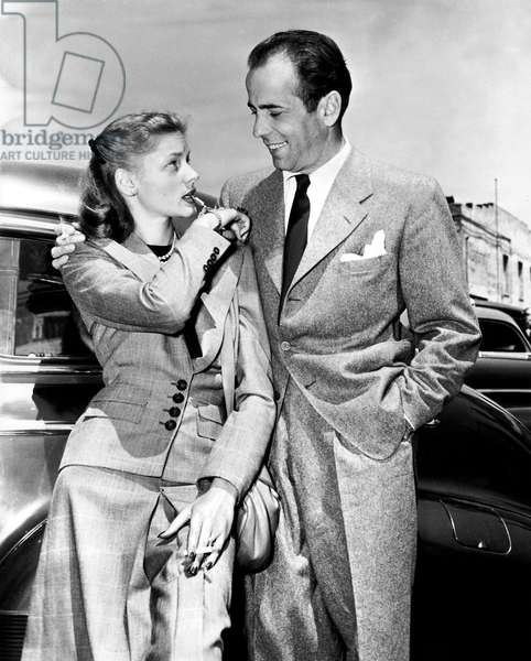 Lauren Bacall and Humphrey Bogart in Pasadena May 25, 1945  (b/w photo)
