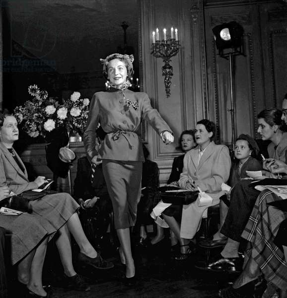 Jane Sylvain fashion show, Paris, October 5, 1949 (b/w photo)