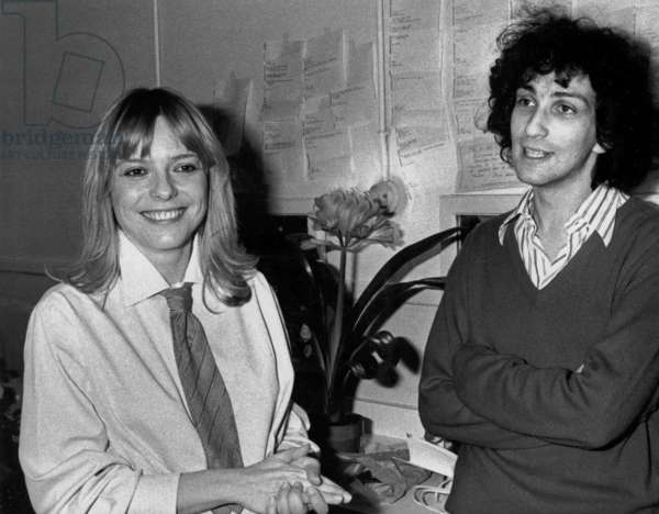 French Singer Michel Berger and his Wife France Gall in April 1978 (b/w photo)