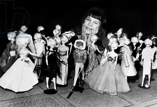 New Barbie Dolls Presented in Paris May 14, 1964 (b/w photo)