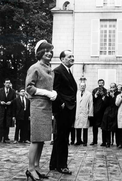 Jackie Kennedy and French Minister of Culture Andre Malraux during Official Visit in Paris , 1961 (Jackie Wearing Tweed Suit By Hubert De Givenchy For Ninon, Hat By Roy Halston Frowick Beret Style) (b/w photo)