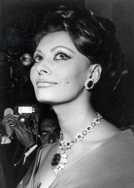 Sophia Loren at the Cannes Film Festival, May 1966 (b/w photo)