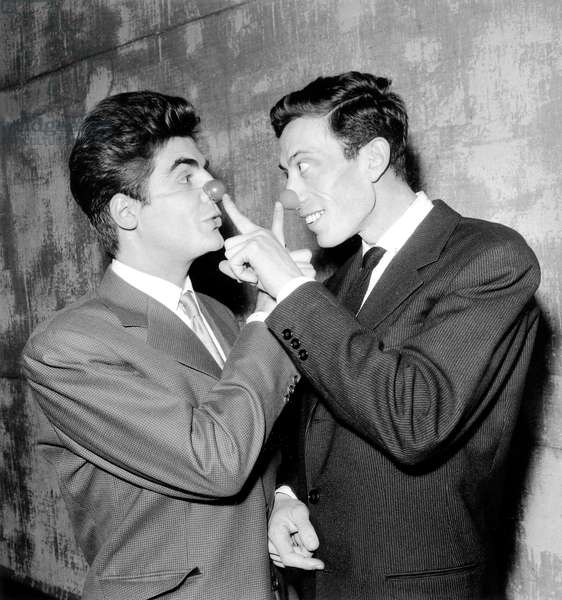 Roger Pierre and Philippe Clay Preparing A Sketch at The Olympia in Paris on December 5, 1955 (b/w photo)
