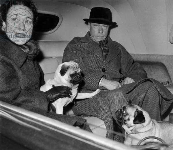 Arriving in Paris Duke Edward of Windsor (Former King Edwardviii) and his Wife Duchess of Windsor (Wallis Simpson) December 7, 1955 (b/w photo)