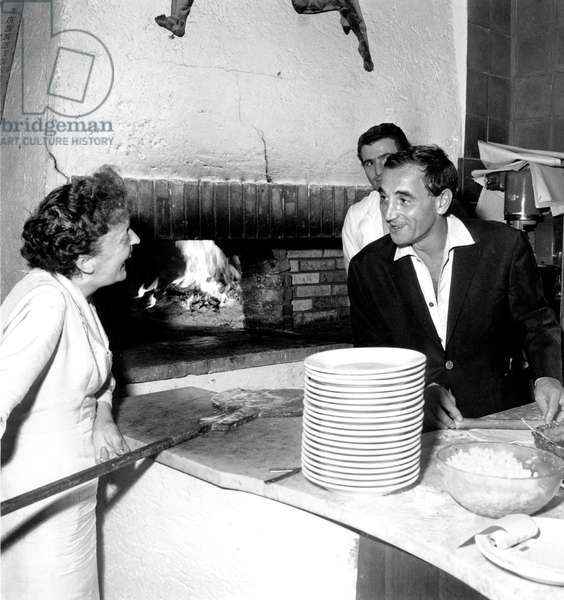 Edith Piaf and Charles Aznavour during Holidays in Nice August 18, 1959 (b/w photo)