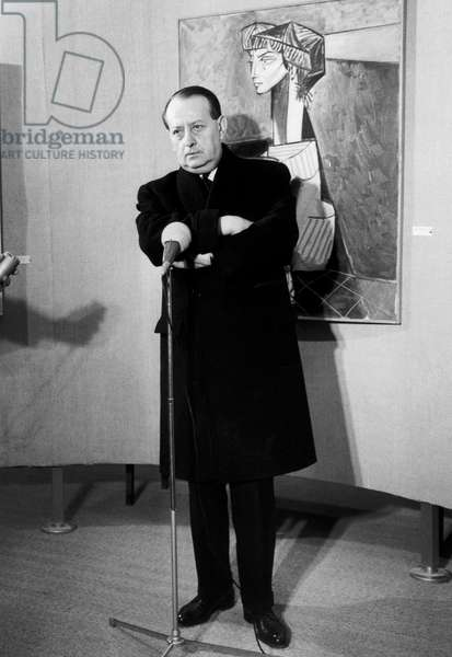 French Minister of Culture Andre Malraux at Opening of Picasso Art Exhibition in Paris November 1966 (b/w photo)