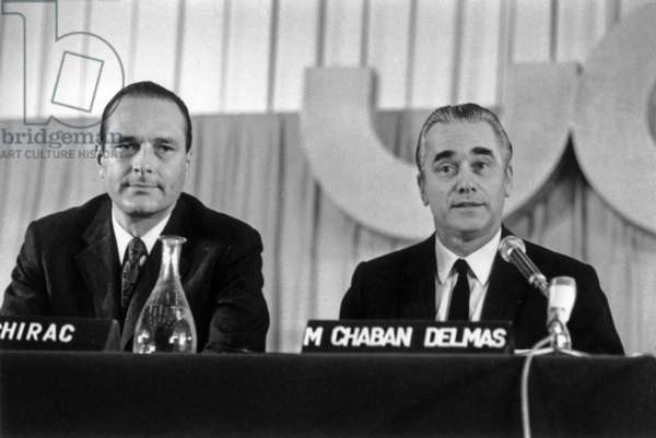 Jacques Chirac and Jacques Chaban-Delmas, Day of Parliamentary Studies, March 24, 1972 (b/w photo)