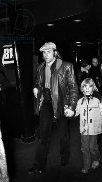 French Actor and Son Guillaume Arriving at A Concert February 7, 1979 (b/w photo)