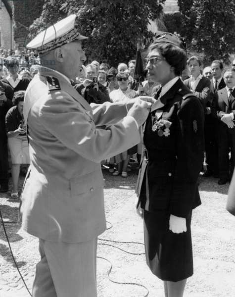 General Valin Giving Cross of Legion of Honour To Josephine Baker (1906-1975) on August 19, 1961 at Milandes Castle (Dordogne, France) (b/w photo)