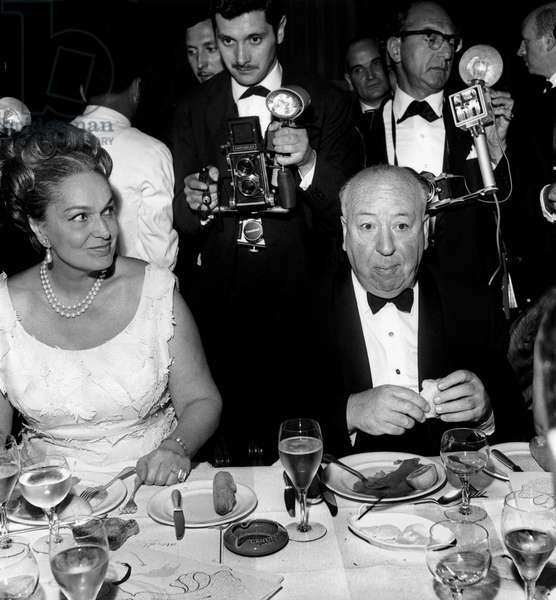 The Begum (Fourth and Last Wife of Shah Aga Khan Iii) With Director Alfred Hitchcock at Cannes Film Festival For Film The Birds May 11, 1963 (b/w photo)