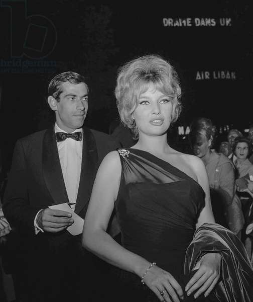 Annette Stroyberg and her husband Roger Vadim attending premiere of film