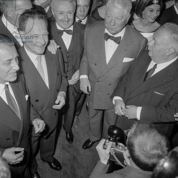 "French actors Pierre Fresnay, Noel-Noel (Lucien Edouard Noel) and Jean Gabin at premiere of film ""Les vieux de la vieille"" in Paris, September 2, 1960 (b/w photo)"