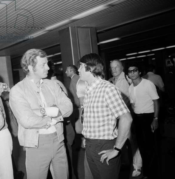 French actor Jean Paul Belmondo and French bosxer Roger Menetrey at Nice Airport on August 9, 1972  (b/w photo)