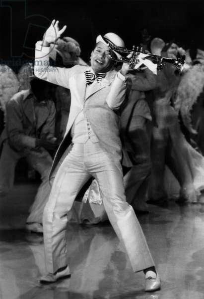 French Singer Henri Salvador during the recording of his Show 'Satchmo Au Paradis' November 14, 1977 (b/w photo)