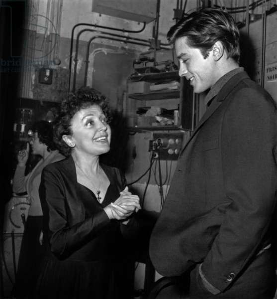 Edith Piaf and Alain Delon After Concert of Piaf in Melun November 21, 1959 (b/w photo)