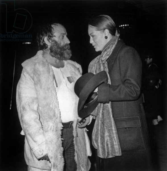 Fortuitous Meeting Between Romy Schneider and Sculteur Cesar at Orly Airport December 30, 1969 (b/w photo)