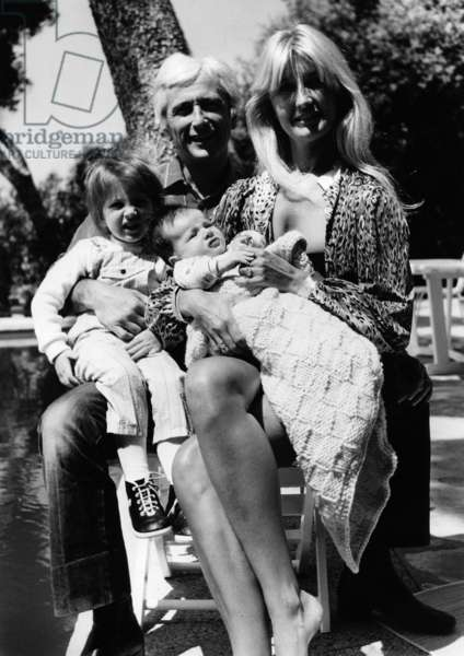 French Singer Marcel Amont With his Wife Marlene, Daughter Romelie and Son Mathias, French Riviera, May 26, 1982 (b/w photo)