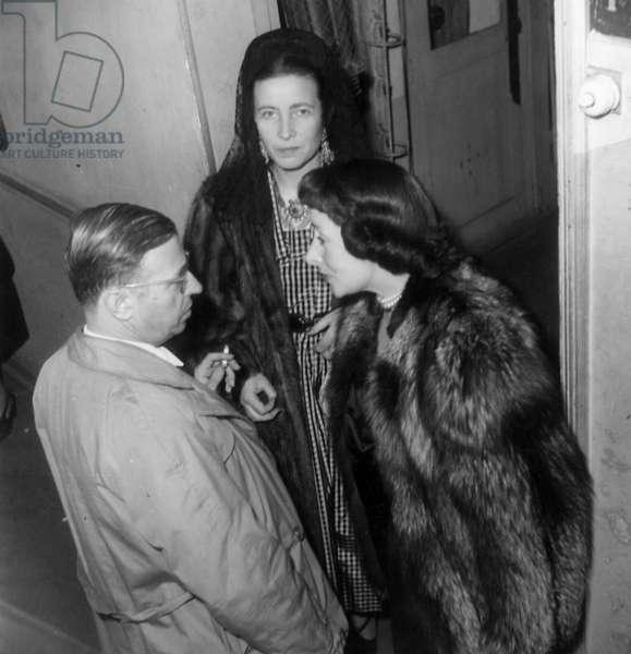 Jean Paul Sartre, his Companion Simone De Beauvoir and the Actress Andre Luguet, April 21, 1948 (b/w photo)