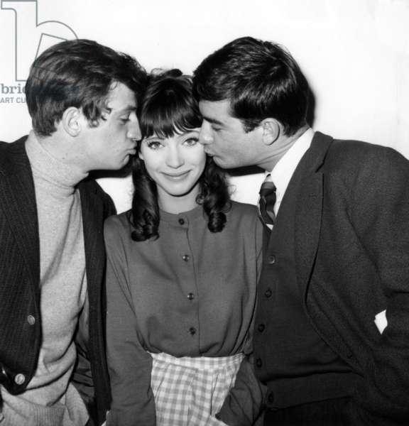 """The Actors Jean Paul Belmondo, Anna Karina and Jean Claude Brialy in The Film """"A Woman Is A Woman"""" on December 5Th, 1960  (b/w photo)"""