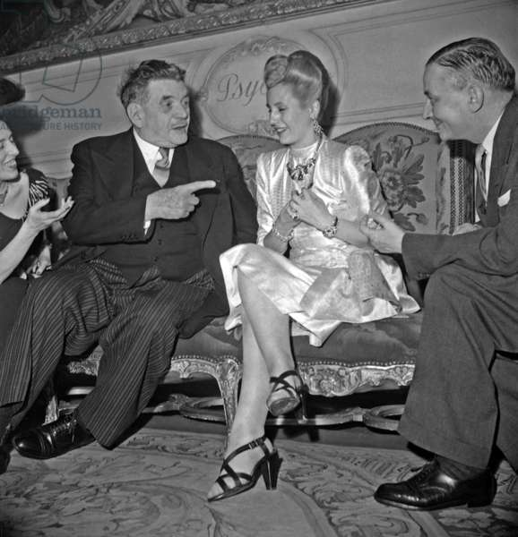 Edouard Herriot, Eva Peron (Evita) and Georges Bidault on July 24, 1947 For Signature of Franco Argentinian Treaty (b/w photo)