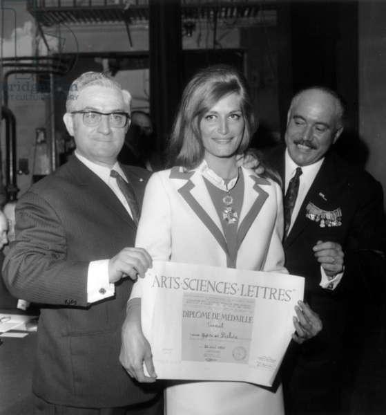 Roger Pinoteau Giving Dalida A Distinction, Paris, April 28, 1968 (b/w photo)