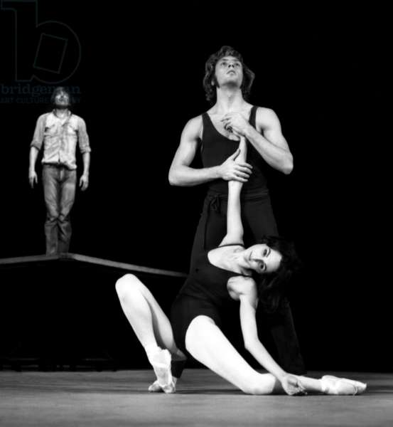 """Dancers Laura Proenca and Jorge Donn of Company """"Les Ballets Du Xxeme Siecle"""" of Maurice Bejart during Rehearsal of Ballet """"L'Amour"""" on Tnp Stage on November 29, 1967 (b/w photo)"""
