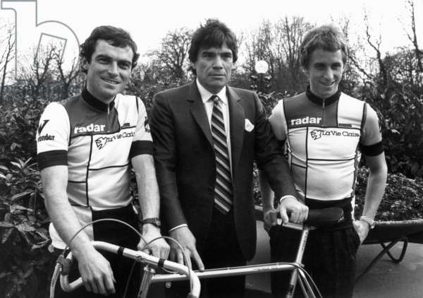 Bernard Hinault, Bernard Tapie and Greg Lemond at Presentation of Cyclist Team Bernard Hinault in Paris January 31, 1985 (b/w photo)