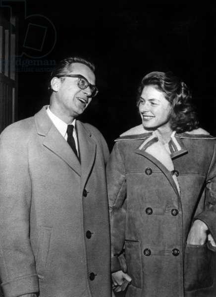 Ingrid Bergman and her 3Rd Husband Lars Schmidt After Their Wedding on December 21, 1958 (b/w photo)