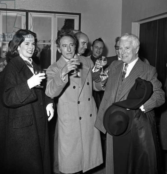 Charlie Chaplin With his Wife Oona and Jean Cocteau in Nice on The Riviera March 1953 (b/w photo)