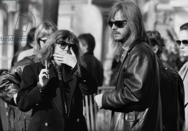 Funeral of Serge Gainsbourg, Montparnasse Cemetery, Paris, March 7, 1991 : French Singer Renaud (Renaud Sechan) (b/w photo)