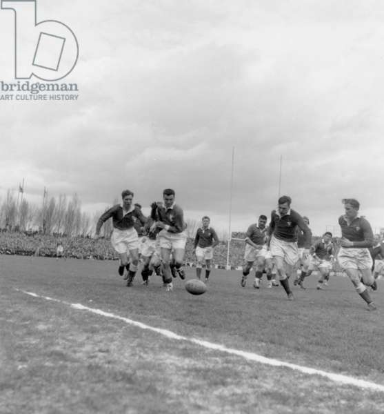 The Final of Rugby, of The Five Nations Tournament Between France and Wales, Winner 16 To 11 : L-R Brejassou (3), Baulon, Meredith and Gallois, in The Stadium of Colombes, on March 26Th, 1955 (b/w photo)