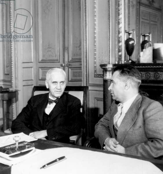 Inventor of Penicillin (Antibiotics)Sir Alexander Fleming here With Mr Billoux French Minister of Public Health September 3, 1945 (b/w photo)