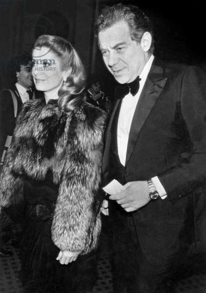 Gerard Lebovici , French Movie Producer, Founder of Artmedia Agency, and Founder of Champ Libre Publishing, here With Catherine Deneuve in Paris For Cesars Movie Prize Ceremony February 27, 1982 (b/w photo)