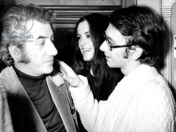 """Actor Daniel Gelin With his Wife Lydie and his Son Xavier Gelin For Play """"Le Knack"""" April 10, 1972, Paris (b/w photo)"""