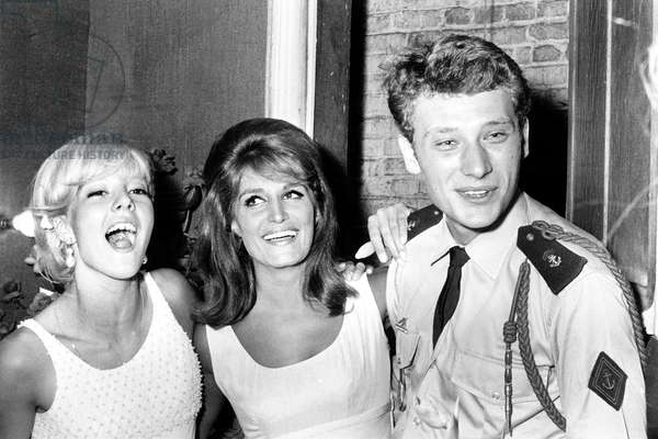 Sylvie Vartan and Johnny Hallyday (On Leave) Congratulating Singer Dalida After Premiere at Olympia September 03, 1964 (b/w photo)