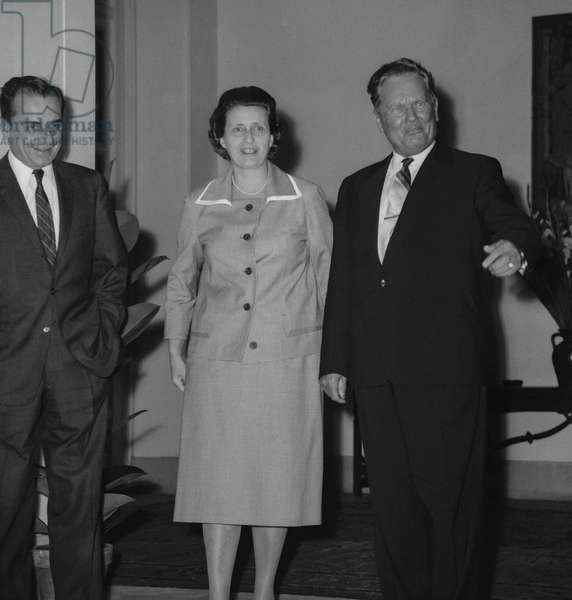 Marshal Josip Broz Tito, Yugoslavian president, in Paris, September 14, 1960 with Mrs Cernej, wife of Yugoslavian amabassador (b/w photo)