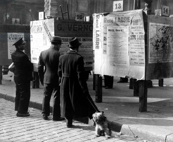Billsticking Billposting Board during General Elections in Paris in 1937 (b/w photo)