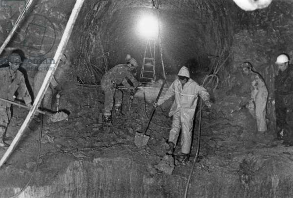 Building of Channel Tunnel, July 2, 1973 (Canceled) (b/w photo)