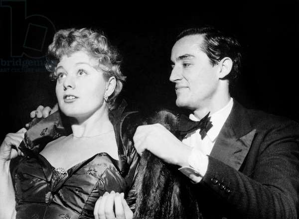 Vittorio Gassman and his 1St Wife Shelley Winters January 25, 1952 (b/w photo)