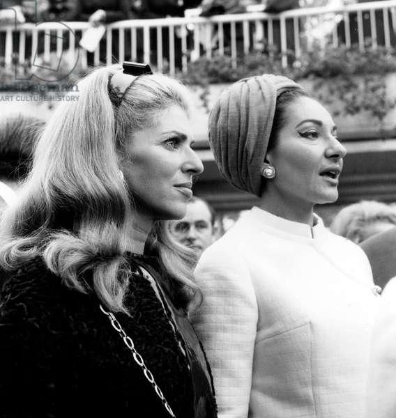 Marie Helene De Rothschild and Maria Callas at Longchamps Racecourse October 6, 1968 (b/w photo)