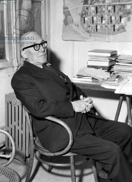 French Architect Le Corbusier (1887-1965) in Paris in February 1963 (b/w photo)