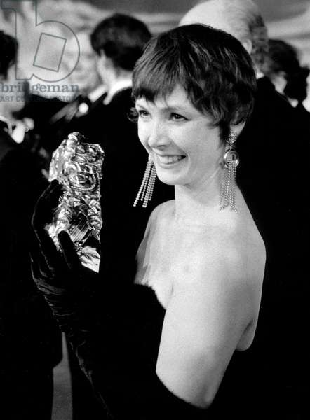 French Actress Sabine Azema Receives Best Actress Movie Prize March 04, 1985 (b/w photo)