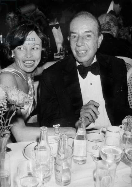 Director Vincente Minnelli With Actress Leslie Caron July 28, 1986 (b/w photo)